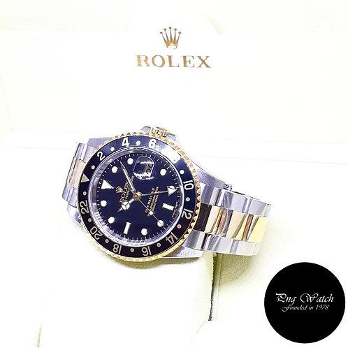 Rolex Oyster 18K Half Gold Black GMT Master 2 REF: 16713 (F Series)