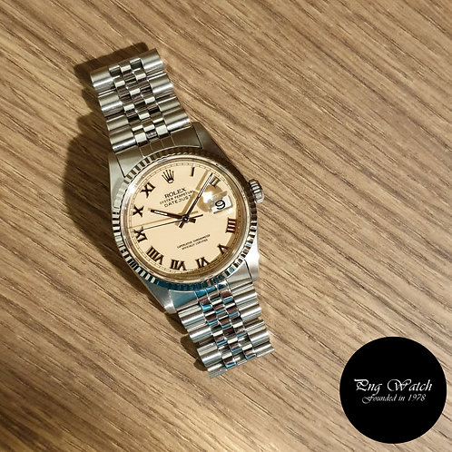 Rolex Oyster Perpetual Cream 'PANNA'  Roman Datejust REF: 16234 (2)