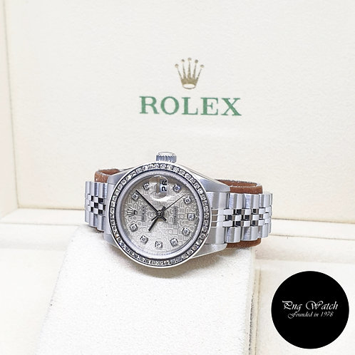 Rolex Oyster Perpetual 26mm Ladies Silver Computer Diamonds Datejust REF: 69174