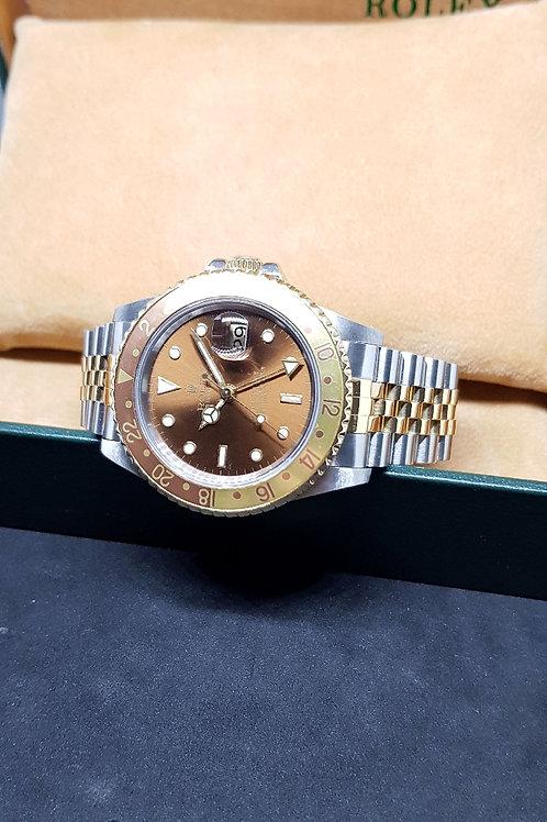 """Rolex 18K Half Gold """"ROOTBEER"""" GMT-Master 2 (Jubilee Bracelet) REF: 16713"""