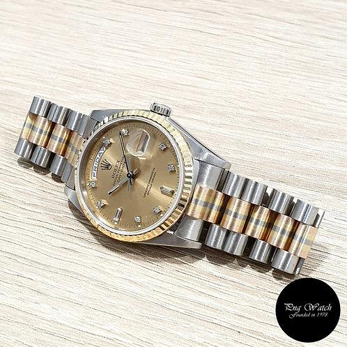 "Rolex 18K Full Gold ""Tridor"" OP Champagne Vignette Day-Date REF: 18239BIC (2)"