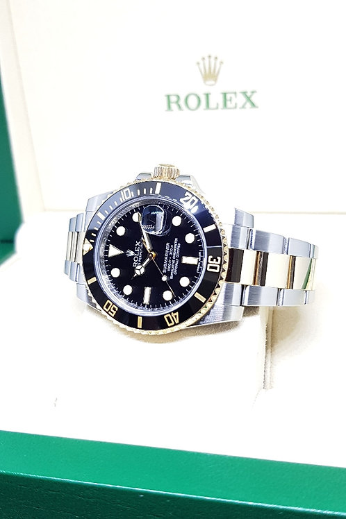 Rolex 18K Half Gold Black Submariner REF: 116613LN