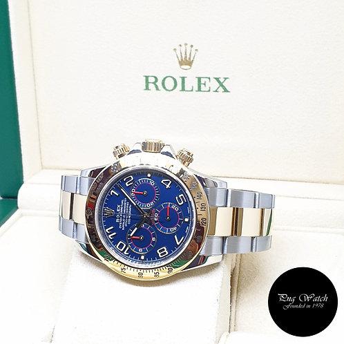 Rolex Oyster Perpetual 18K Half Gold Blue Arabic Racing Daytona REF: 116523 (G)
