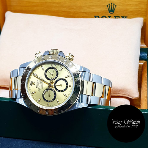 Rolex 18K Half Gold Zenith Movement Champagne Indexes Daytona REF: 16523