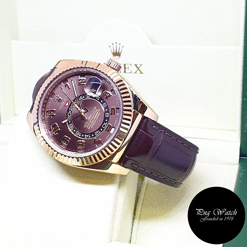 """Rolex Oyster Perpetual 18K Rose Gold """"Chocolate"""" Sky Dweller REF: 326135 (2015)"""