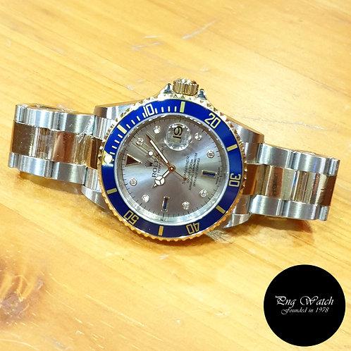 Rolex OP 18K Half Gold Grey Serti Diamonds Submariner Date REF: 16613 (2)