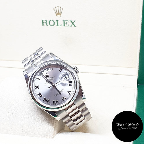 Rolex Oyster Perpetual 18K White Gold Silver Roman Day-Date REF: 118209 (P)