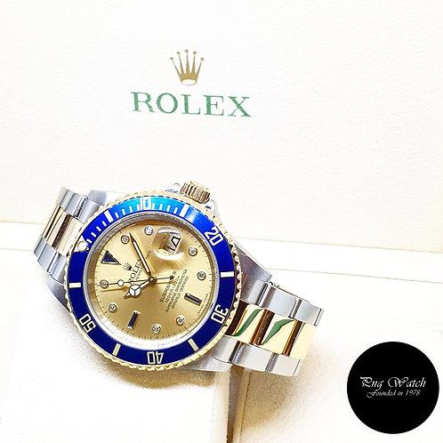 Rolex 18K Half Gold Champagne Serti Diamonds Submariner Date REF: 16613