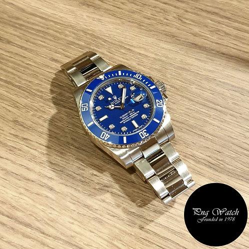 "Rolex OP 18K White Gold ""Smurf"" Serti Diamonds Submariner REF: 116619LB (2)"