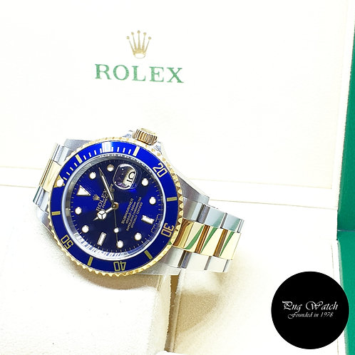 Rolex Oyster Perpetual 18K Half Yellow Gold Blue Submariner Date REF: 16613 (D)