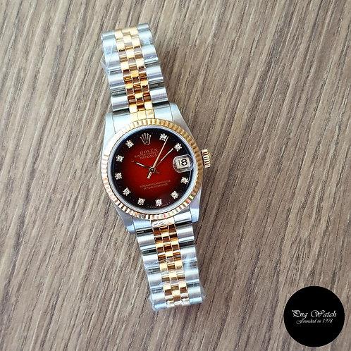 Rolex 18K Half Gold 10PT Diamonds Red Degrade Datejust REF: 68273 (2)