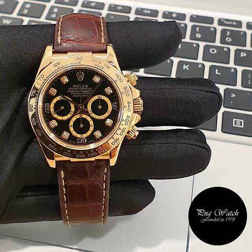 Rolex 18K Yellow Gold Zenith Mvt Black Diamonds Daytona REF: 16518 (2)