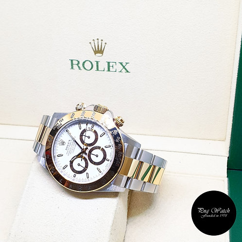 Rolex Oyster Perpetual 18K Half Gold White Indexes Daytona REF: 16523 (A)
