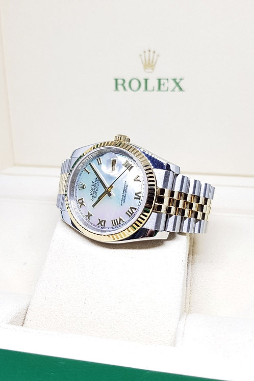 Rolex Oyster Perpetual 18K Half Gold Mother-Of-Pearl Datejust REF: 116233