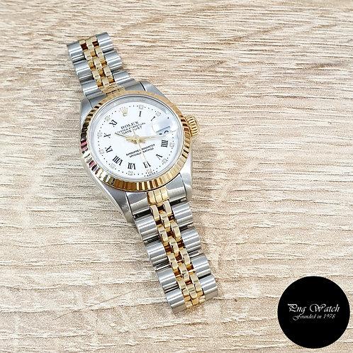 Rolex 18K Half Gold 26mm Ladies White Roman Diamonds Datejust 69173 (2)