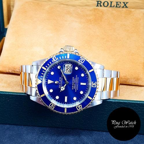 """Rolex 18K Half Gold """"Swiss Dial"""" Blue Submariner REF: 16613"""