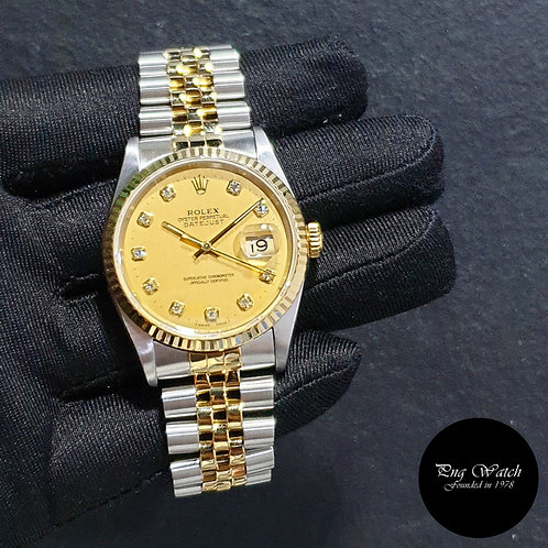 Rolex Oyster Perpetual Champagne Diamonds Datejust REF: 16233 (2)