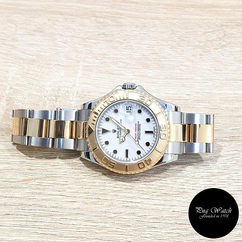 Rolex Oyster Perpetual 18K Half Gold 35mm White Yachtmaster REF: 168623 (K)(2)