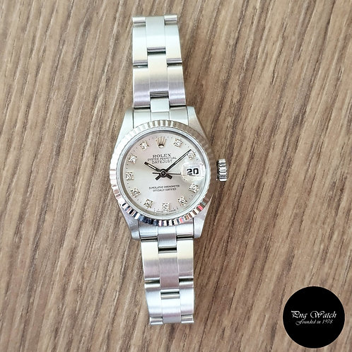 Rolex Oyster Perpetual Datejust in Silver 10PT Diamonds REF: 69174 (2)