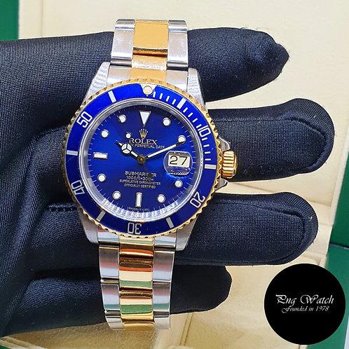 Rolex 40mm Discontinued 18K Half Gold Blue Submariner Date REF: 16613 (N)(2)