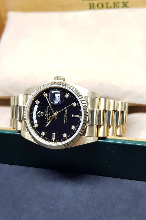 Rolex Oyster Perpetual 18K Yellow Gold Black Diamonds Day-Date REF: 18038