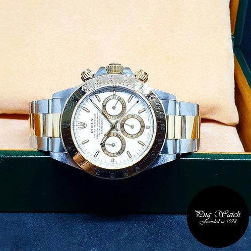 Rolex 18K Half Gold White Index Zenith Daytona REF: 16523