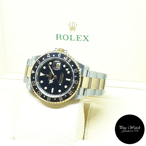 Rolex Oyster Perpetual Date 18K Half Gold Black GMT Master 2 REF: 16713 (Y)