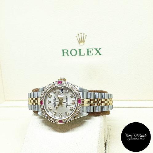 Rolex OP 18K Half Gold 26mm Ladies Silver Vignette Diamonds Datejust REF: 69173