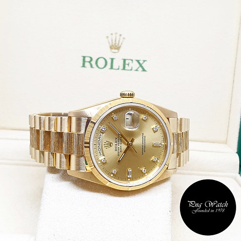 Rolex 36mm 18K Yellow Gold Champagne Diamonds Bark Finished Day-Date REF: 18248