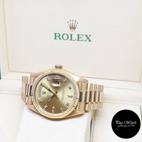 Rolex 36mm 18K Yellow Gold Champagne Diamonds Day-Date REF: 18038 (1980)