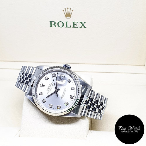 Rolex Oyster Perpetual Plain Silver 10Pt Diamonds Datejust REF: 16234