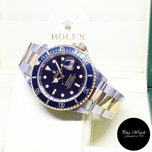 Rolex Oyster Perpetual 18K Half Gold Black Submariner Date REF: 16613 (X Series)
