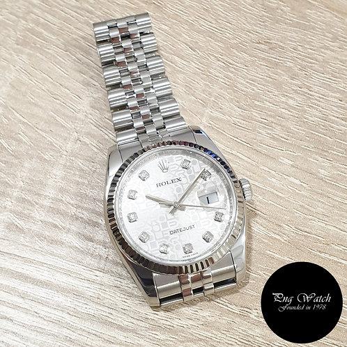 Rolex OP 36mm Silver Computer Diamonds Datejust REF: 116234 (AN)(2)