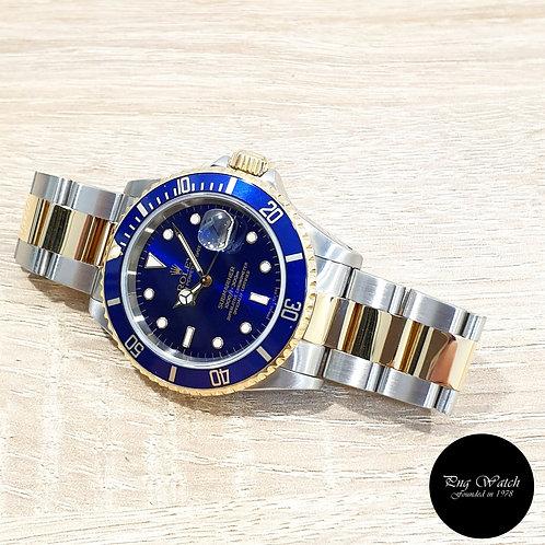 Rolex OP 18K Half Gold Tritium Blue Submariner Date REF: 16613 (T)(2)
