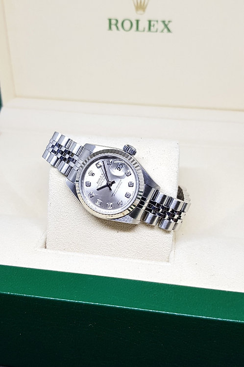 Rolex Oyster Perpetual Ladies Silver Diamonds Datejust REF: 79174