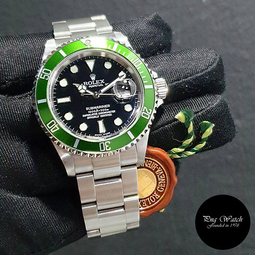 """Rolex Oyster Perpetual Flat 4 """"KERMIT"""" Submariner Date REF: 16610LV (F)(2)"""