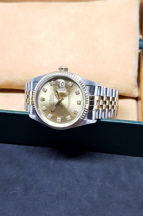 Rolex 18K Half Gold Champagne Diamonds Datejust REF: 16233