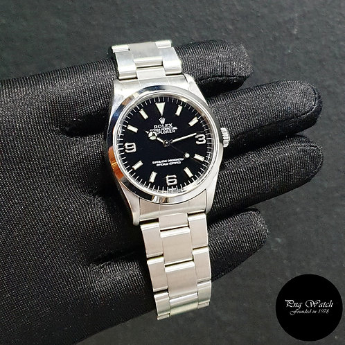 "Rolex Oyster Perpetual Steel 36mm ""SWISS"" Black Explorer One REF: 14270 (2)"