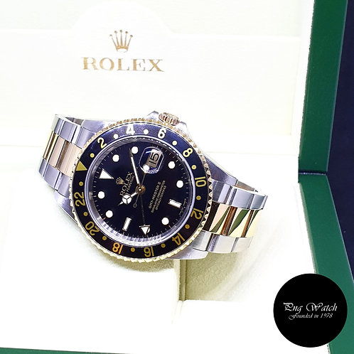 Rolex Oyster Perpetual 18K Half Gold Black GMT Master 2 REF: 16713 (F Series)