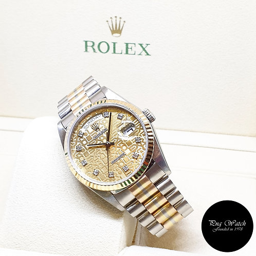 "Rolex 18K Full Gold ""Tridor"" Square Diamonds Day-Date REF: 18239BIC"