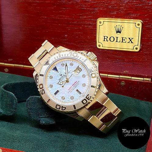 Rolex OP 18K Yellow Gold MOP Serti Diamonds 40mm Yachtmaster REF: 16628 (P)
