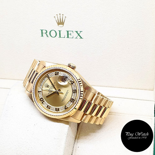 Rolex Perpetual 18K Yellow Gold Champagne Pave Diamonds Day-Date REF: 18238