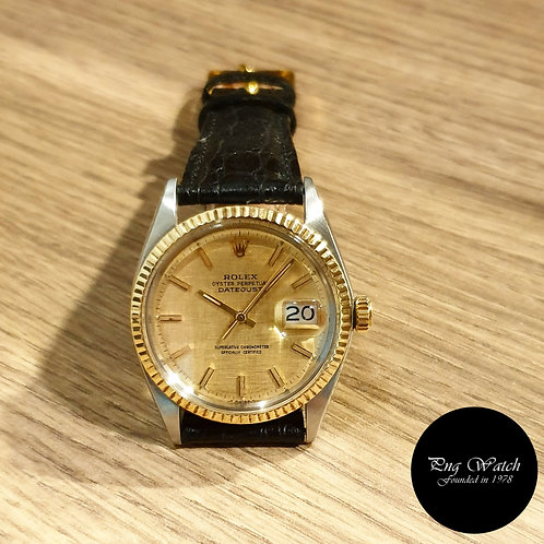 Rolex Half Gold Champagne Textured Indexes Datejust REF: 1601 (2)
