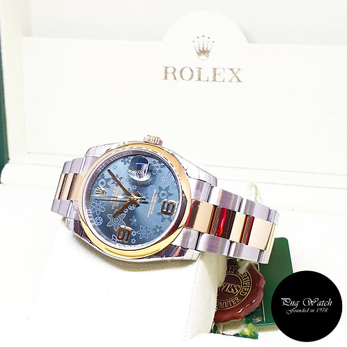 Rolex Oyster Perpetual 36mm 18K Half Gold Green Floral Datejust REF: 116203 (AN)