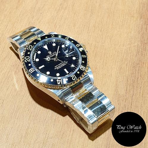 Rolex Oyster 18K Half Gold Black GMT Master 2 REF: 16713 (P)(2)