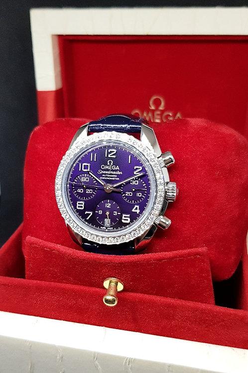 Omega Purple Speedmaster Chronograph with Diamonds REF: 32418384010001