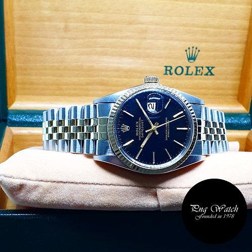 Rolex Oyster Perpetual 14K Half Gold Black Index Datejust REF: 16013