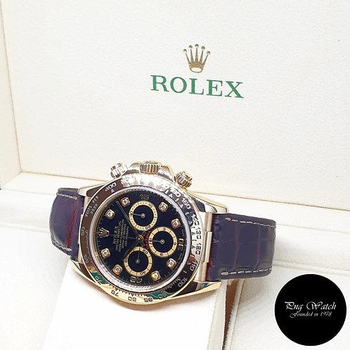 Rolex 18K Yellow Gold Zenith Mvt Black Diamonds Daytona REF: 16518