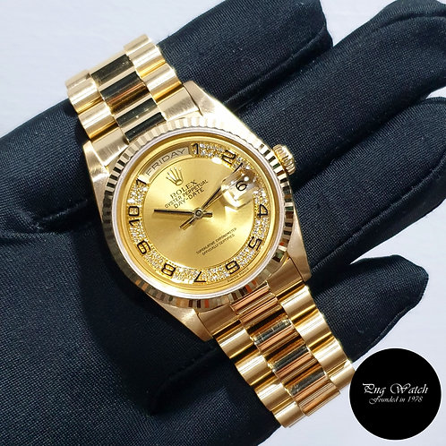 Rolex 18K Yellow Gold Champagne Pave Diamonds Day-Date REF: 18238 (2)
