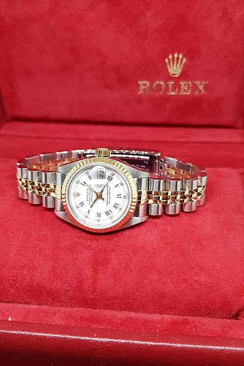 Rolex 18K Half Gold Ladies Roman and Diamonds Datejust REF: 69173